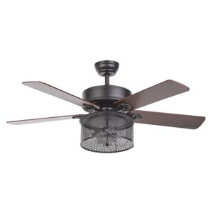Ceiling Fan with Light Black Glass Metal Plywood Reversible Blades with Remote Control 3 Speeds Switch Timer Industrial Retro Design Beliani