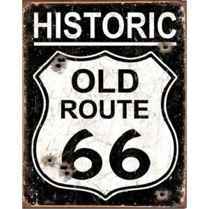 Metal sign OLD ROUTE 66 - Weathered, (31.5 x 40 cm)