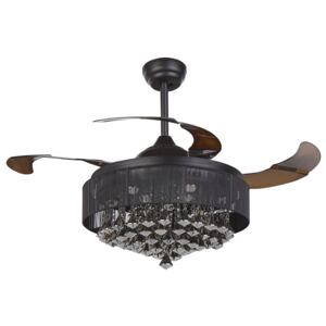 Ceiling Fan with Light Black Metal Acrylic Crystals Foldable Blades Glam Shade with Remote Control 3 Speeds Switch Timer Light Adjustment Beliani