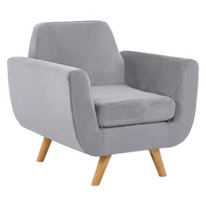 Armchair Grey Velvet Upholstery on Slanted Wooden Legs with Removable Cover Retro Style Beliani