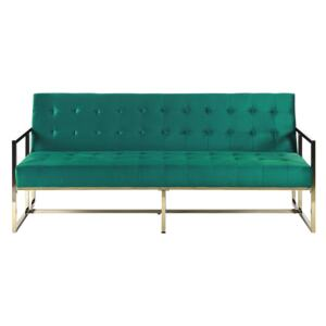Sofa Bed Green Velvet Tufted Upholstery 3 Seater Gold Metal Frame with Armrests Retro Style Beliani