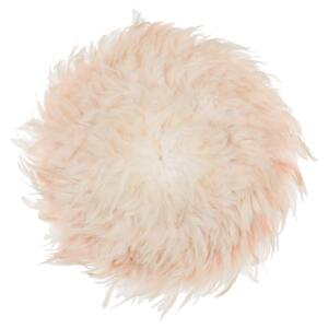 Wall Decoration Peach Pink Feathers Round 60 cm Boho Accent Design Living Room Decor Beliani