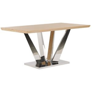 Dining Table Light Wood and Silver MDF Stainless Steel Legs 160 x 90 cm Rectangular Modern Beliani