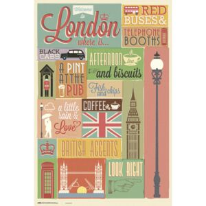 Poster London - Collage, (61 x 91.5 cm)