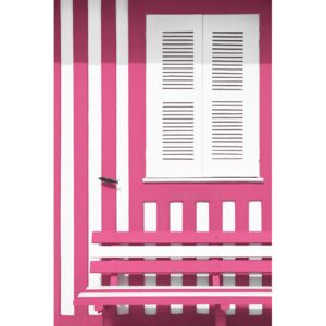 House facade with Pink and White Stripes, (85 x 128 cm)