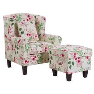 Armchair with Footstool Cream Floral Pattern Fabric Wooden Legs Wingback Style Beliani