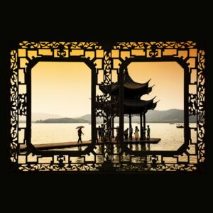 Asian Window - Water Temple at sunset, (128 x 85 cm)