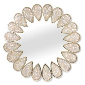 Petal Wall mirror - / Mother-of-pearl mosaic - Ø 81 cm by Jonathan Adler White/Gold