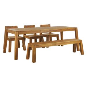 Garden Dining Set 5 Pieces Light Solid Acacia Wood Rectangular Table Bench 3 Chairs Rustic Style Modern Design Beliani