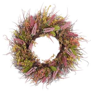 Door Wreath Pink and Green Artificial Flower Wreath 50 cm Round Table Wall Décor Traditional Rustic Style Beliani