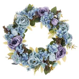 Door Wreath Blue Handmade Decorative Artificial Flower Round 50 cm Table Wall Décor Traditional Rustic Style Beliani
