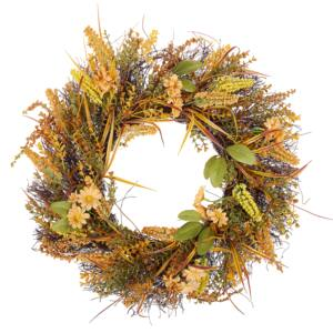 Door Wreath Orange and Green Handmade Decorative Artificial Flower Round 50 cm Table Wall Décor Traditional Rustic Style Beliani