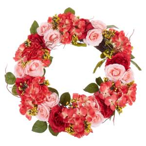 Door Wreath Red and Pink Handmade Decorative Artificial Flower Round 50 cm Table Wall Décor Traditional Rustic Style Beliani