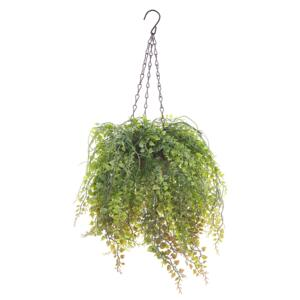 Artificial Hanging Plant Green Synthetic 48 cm Trailing Fake Plant in Jute Basket Beliani