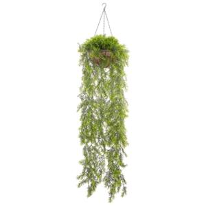 Artificial Hanging Plant Green Synthetic 150 cm Long Trailing Fake Plant in Jute Basket Beliani