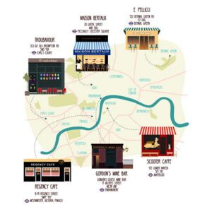 Huntley, Claire - Fine Art Print Map of Unique London Eateries and Bars