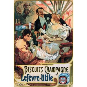 Mucha, Alphonse Marie - Fine Art Print Poster advertising Biscuits Champagne Lefèvre-Utile