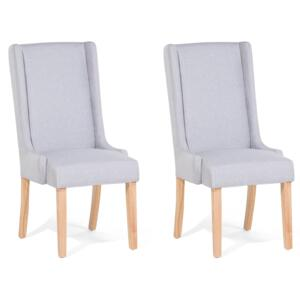 Set of 2 Dining Chairs Light Grey Fabric Upholstered High Back Wooden Legs Modern Parsons Beliani