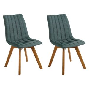 Set of 2 Chairs Green Polyester Fabric Dark Solid Wood Legs Vertical Padding Curved Back Beliani