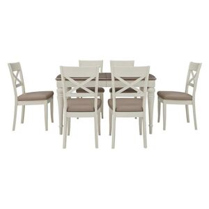 Furnitureland - Annecy Extending Dining Table with 6 Faux Leather Cross Back Chairs