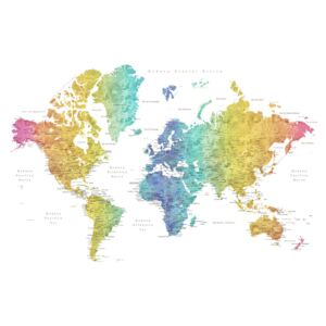 Map World map with labels in Spanish, rainbow watercolor, Blursbyai