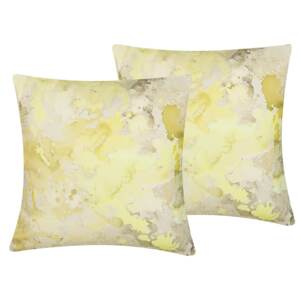 Set of 2 Decorative Cushions Yellow Abstract Pattern Square 45 x 45 cm Modern Décor Accessories Beliani