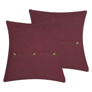 Set of 2 Decorative Cushions Red 43 x 43 cm Striped Buttons Throw Pillow Home Soft Accessory Beliani