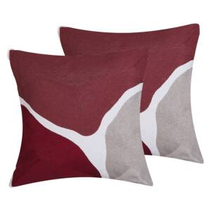 Set of 2 Decorative Cushions Multicolour 45 x 45 cm Abstract Pattern Square Throw Pillow Home Soft Accessory Beliani