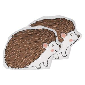 Set of 2 Kids Cushion Brown Cotton Fabric Hedgehog Shaped Pillow with Filling Soft Children's Toy Beliani
