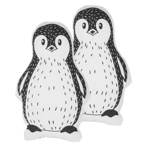 Set of 2 Kids Cushions Black and White Fabric Penguin Shaped Pillow with Filling Soft Children's Toy Beliani