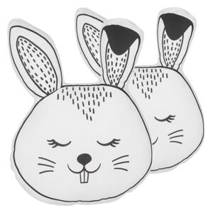 Set of 2 Kids Cushions Black and White Fabric Bunny Shaped Pillow with Filling Soft Children's Toy Beliani