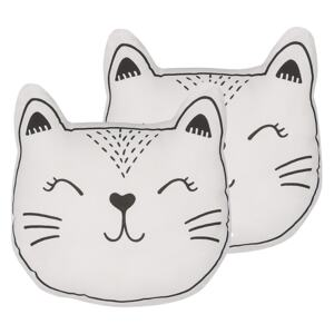 Set of 2 Kids Cushions Black and White Fabric Cat Shaped Pillow with Filling Soft Children's Toy Beliani