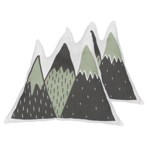Set of 2 Kids Cushions Green and Black Fabric Mountains Shaped Pillow with Filling Soft Children's Toy Beliani