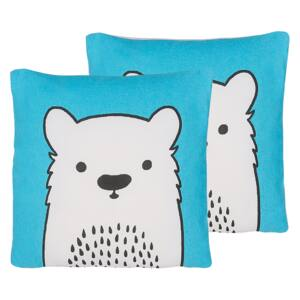 Set of 2 Kids Cushions Blue Fabric Bear Image Pillow with Filling Soft Children's Toy Beliani
