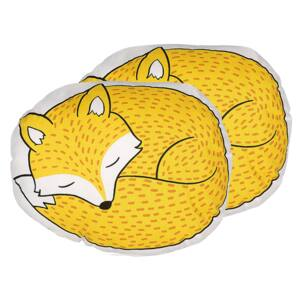 Set of 2 Kids Cushions Yellow Fabric Fox Shaped Pillow with Filling Soft Children's Toy Beliani
