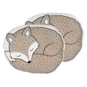 Set of 2 Kids Cushions Grey Fabric Fox Shaped Pillow with Filling Soft Children's Toy Beliani