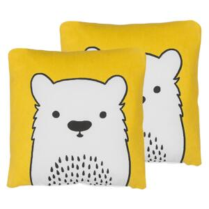 Set of 2 Kids Cushions Yellow Fabric Bear Image Pillow with Filling Soft Children's Toy Beliani