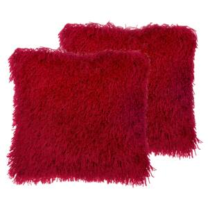Set of 2 Decorative Throw Pillows Red Polyester Fabric Accent Cushion Cover with Insert Furry Surface 45 x 45 cm Beliani