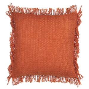 Scatter Cushion Orange Cotton 45 x 45 cm Pillow Case Textured Fringed Edges with Polyester Filling Beliani