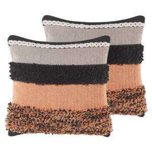 Set of 2 Scatter Cushions Multicolour Wool Front Cotton Back 45 x 45 cm Handmade Pillow Case with Polyester Filling Beliani