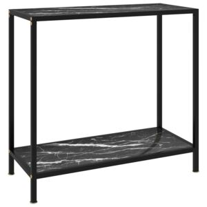 Console Table Black 80x35x75 cm Tempered Glass