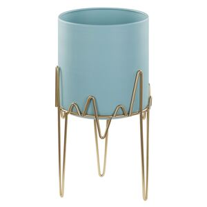 Plant Stand Blue with Gold Iron 19 x 19 x 39 cm Indoor Outdoor Metal Flower Pot UV Resistant Modern Industrial Standing Planter Beliani