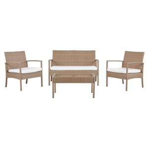 Garden Sofa Set Brown Faux Rattan with White Cushions with Coffee Table 4 Seater Beliani