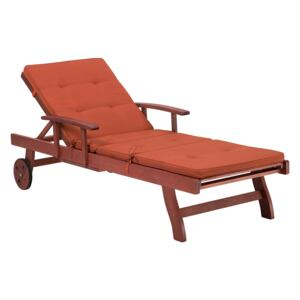 Sun Lounger Acacia Wood with Red Cushion Reclining with Wheels Tray Classic Outdoor Furniture Beliani