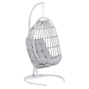Hanging Chair PE Rattan Light Grey Outdoor Indoor Patio with a Stand Modern Swing Chair Beliani