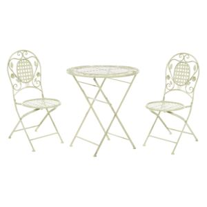 Garden Bistro Set Light Green Iron Foldable Distressed Metal 2 Chairs Table Outdoor UV Rust Resistance French Retro Style Beliani