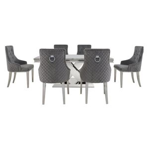 Dolce Dining Table and 6 Button Back Dining Chairs