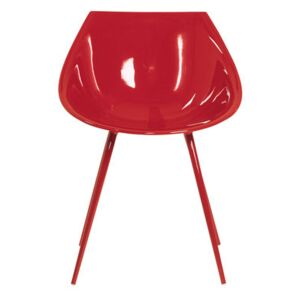 Lago Armchair - Lacquered polyurethan & metal legs by Driade Red