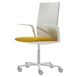Kinesit Armchair on casters - Padded / High backrest by Arper White/Yellow