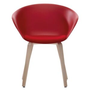 Duna 02 Armchair - Wood legs - Seat cushion by Arper Red/Natural wood